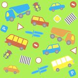 Background with cartoon cars Stock Photography