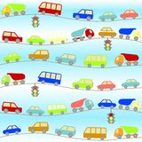 Background with cartoon cars Stock Photo