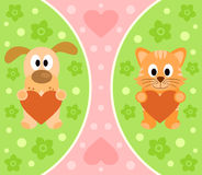 Background with cartoon cat and dog Royalty Free Stock Photo