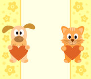 Background with cartoon dog and cat Stock Photography
