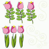 Background with cartoon flowers. Royalty Free Stock Photography