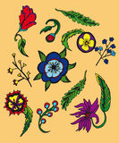 Background with cartoon flowers and leavs Royalty Free Stock Photo