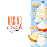Background with cartoon food: baking ingredients - flour, eggs, butter, salt, whipped cream, milk. Vector illustration. Royalty Free Stock Images