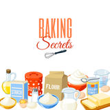 Background with cartoon food: baking ingredients. Vector illustration. Royalty Free Stock Images