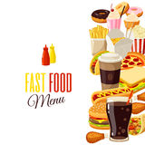 Background with cartoon food Stock Photos