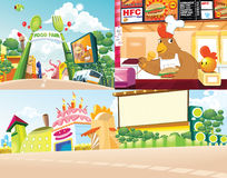 Background  cartoon food land Stock Photo
