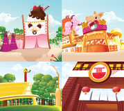 Background  cartoon food land Royalty Free Stock Photography