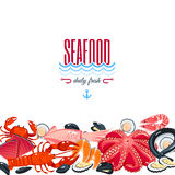 Background with cartoon food: seafood - tuna, salmon, clams, crab, lobster. Stock Photography