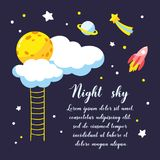 Background with cartoon full moon, clouds and other cosmic objects in the night sky. Royalty Free Stock Photography