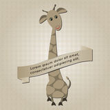 Background with cartoon giraffe Royalty Free Stock Images