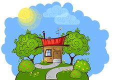 Background cartoon house Stock Images
