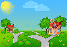 Background cartoon house Royalty Free Stock Image