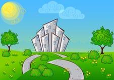 Background cartoon house Royalty Free Stock Photos