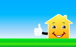Background with cartoon house showing thumb up Stock Photography