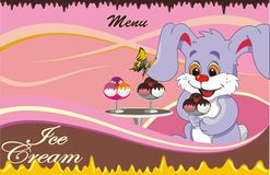 Background - cartoon menu cafe for ice cream Royalty Free Stock Image
