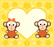 Background with cartoon monkeys Stock Photo