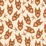 Background cartoon owl and paw prints. Stock Photo