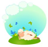 Background with cartoon sheep Stock Photo