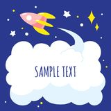 Background with cartoon space rocket and cloud of exhaust, space for text. Vector illustration Stock Photos