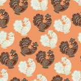 Background cartoon stylized rooster Stock Photo