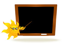 Background with cartoon sun pointing on school board Royalty Free Stock Photo