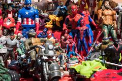 Background of cartoon superheroes action figures toys. royalty free stock photos