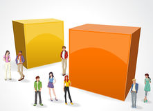 Background with cartoon teenagers. Royalty Free Stock Image