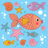 Background with cartoons fish. Under the water Stock Images