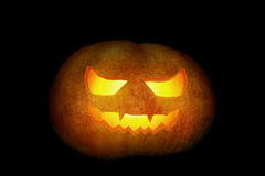 Background from carved pumpkin isolated on black Stock Images