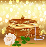 Background casket with pearls and a rose Royalty Free Stock Images