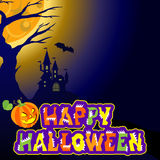 Background with castle, bat, an evil pumpkin and the text Halloween vector concept plase for your inscription. Stock Photos