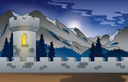 Background castle in mountain 1 Stock Image