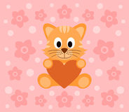 Background with cat cartoon Stock Images