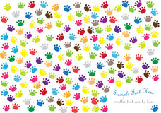 Background with cat paw prints. Funny colorful background with cat paw prints and place for your text isolated on white background Royalty Free Stock Images