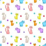 Background, cats and balls. Vector seamless background, multi-coloured cats and balls Stock Photo