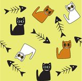 Background with cats and fish skeletons. Stock Images