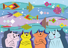 Background of the cats and ornamental fish. Four variegated cat on a background of water and ornamental fish Royalty Free Stock Photography