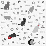 Background with cats paw print and fish bone Royalty Free Stock Photo
