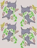 A background with cats on trees. Royalty Free Stock Images
