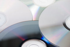 Background with CD / DVD disks. Close up Stock Photography