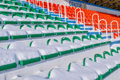 Background chairs at stadium , winter Royalty Free Stock Image