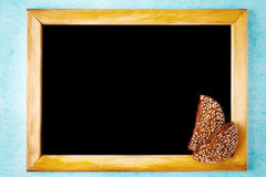 Background with Chalk Board in Wooden Frame Royalty Free Stock Image