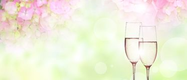 Background with champagne for a wedding Royalty Free Stock Image