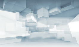 Background with chaotic cubic structures, 3d. Abstract blue and white background with chaotic cubic structures, 3d illustration, multi exposure effect Royalty Free Stock Photos
