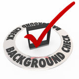 Background Check Security Police Criminal Investigation Research. Background Check words in box with mark to illustrate a police or criminal research or Stock Images