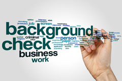 Background check word cloud concept on grey background royalty free stock photography