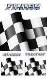 Background Checkered, Chequered Flag Motor Racing. Finnish, Winner, Track Day, Three backgrounds Royalty Free Stock Photo