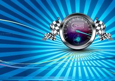 Background checkered with speedometer and checkered flags Stock Photos