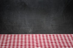 Background with checkered tablecloth and blackboard Stock Images