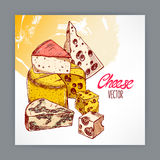 Background with cheeses Royalty Free Stock Image